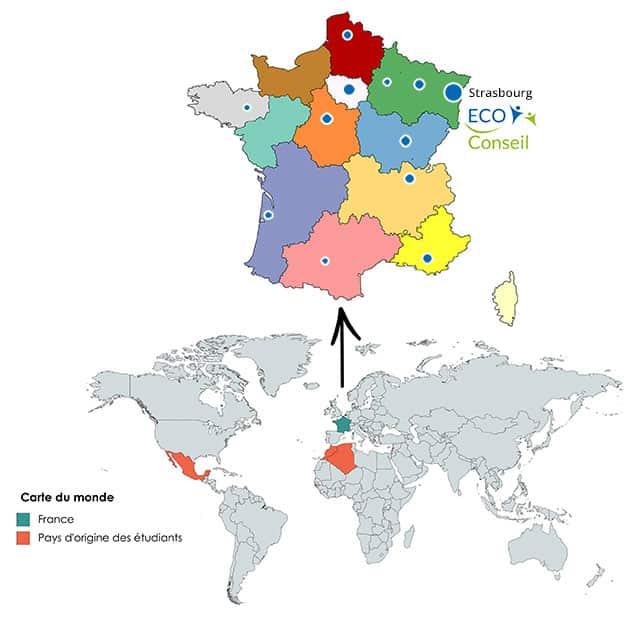 Répartition des éco-conseillers en France & dans le monde