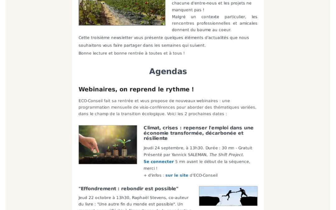 3° newsletter d'ECO-Conseil