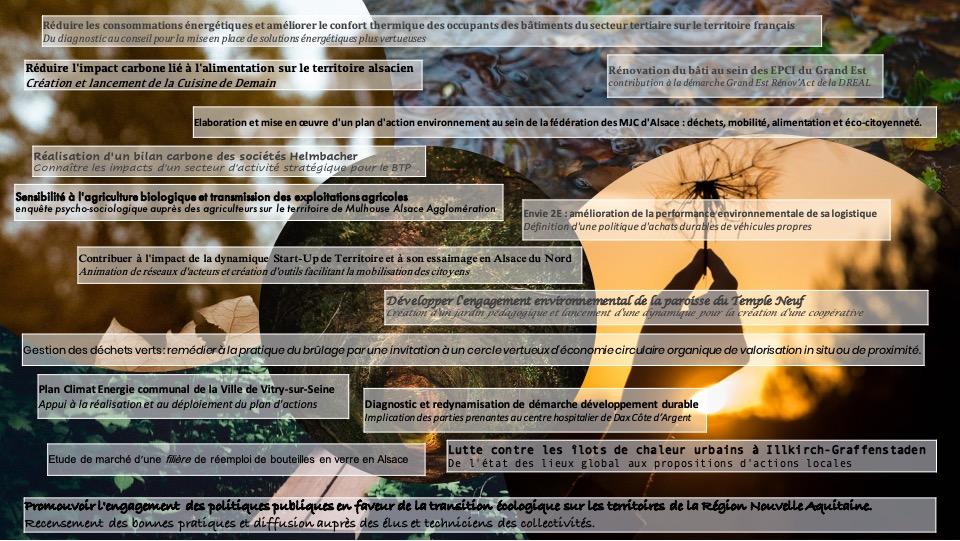 Panorama de quelques sujets de soutenance P31