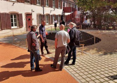 Visite chantier de la cour de l'école Académie maternelle